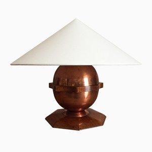 Lampada da tavolo Art Deco in rame e palissandro, anni '30