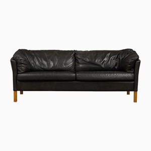 Vintage Black Leather Sofa by Mogens Hansen, 1970s