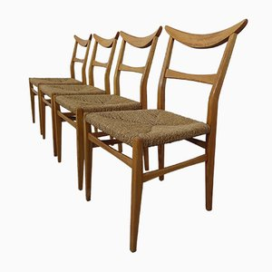Italian Rush Dining Chairs, 1960s, Set of 4
