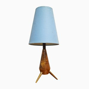 Mid-Century Rocket Walnut Table Lamp, 1950s