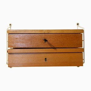 Mid-Century Ash Veneer Wall Shelf with Drawers by Kajsa & Nisse Strinning for String, 1960s