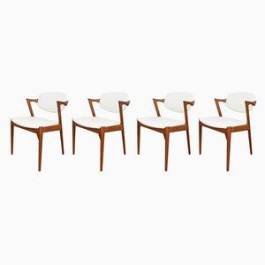 Mid-Century Modell 42 Esszimmerstühle von Kai Kristiansen für Schou Andersen, 1960er, 4er Set
