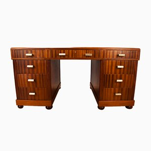 British Art Deco Walnut Desk, 1930s