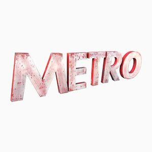 Vintage METRO Buchstaben aus Metall, 1960er