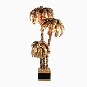 Lampada da terra grande Hollywood Regency a forma di palma, Francia, anni '80