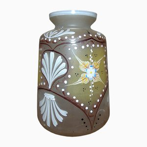 Art Nouveau Glass Painted Vase