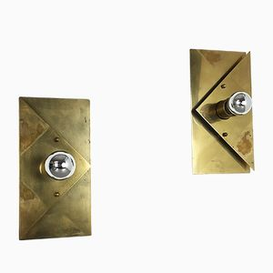 Modernist Brass Cubic Sconce Wall Light from Cosack, 1960s, Set of 2