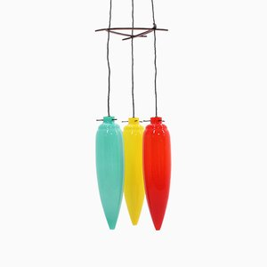 Large Italian Multicolor Pendant Lamp from Vistosi, 1950s
