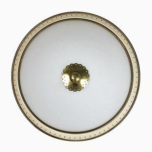 Moderne Wand- oder Deckenlampe aus Metall & Opalglas, 1950er