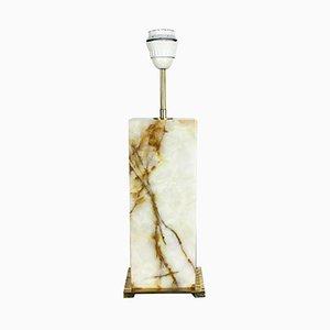Lámpara de mesa vintage con base de luz de mármol ónice, años 60
