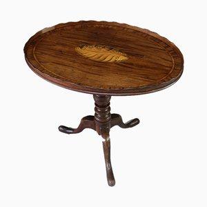 Antiker ovaler Beistelltisch aus Mahagoni mit neigbarer Platte