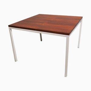 Mid-Century Rosewood Coffee Table with White Lacquered Metal Legs, 1970s