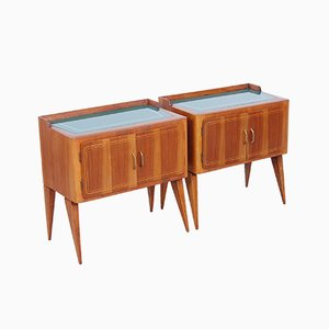 Mid-Century Walnut & Green Glass Bedside Tables, 1950s, Set of 2