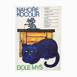 Vintage The Cat Above and the Mouse Below Filmposter von Jindřich Čech, 1971