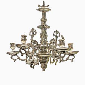 Kleiner antiker flämischer Kronleuchter & Kerzenhalter aus Silber