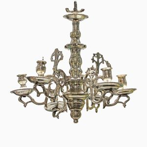 Small Antique Flemish Silver Chandelier Candleholder