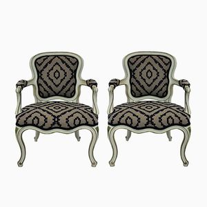 Mid-Century French Painted Armchairs, 1950s, Set of 2