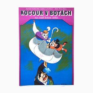 Vintage Puss 'N Boots Travels Around the World Filmposter von Vratislav Hlavatý, 1979