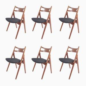 Sägebockstühle aus Teak von Hans J. Wegner für Carl Hansen & Søn, 1959, 6er Set