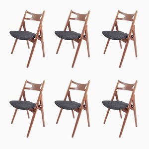 Teak Sawhorse Chairs by Hans J. Wegner for Carl Hansen & Søn, 1959, Set of 6