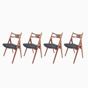 Teak Sawhorse Chairs by Hans J. Wegner for Carl Hansen & Søn, 1959, Set of 4