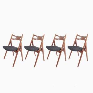 Teak Sawhorse Chairs by Hans J. Wegner for Carl Hansen & Søn, 1959, Set of 4