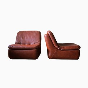 Mid-Century Leather Modular Chairs, 1970s, Set of 2