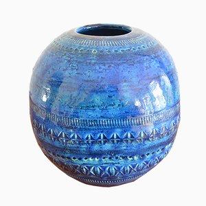 Kugelförmige Rimini Vase aus blauer Keramik von Aldo Londi für Bitossi, 1960er