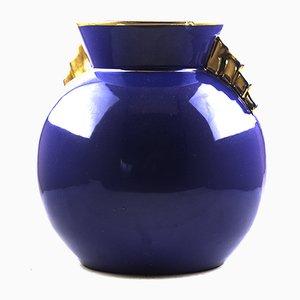Vaso Mid-Century blu e oro di Raymond Chevalier per Boch Keramic, anni '50
