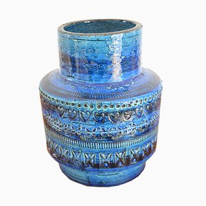 Jarrón de cerámica azul Rimini de Aldo Londi para Bitossi, años 60