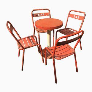 Mesa de bistró vintage con cuatro sillas, años 50