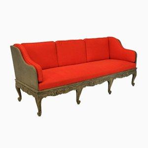 Sofá cama sueco vintage grande tallado y pintado, años 20