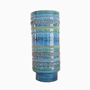Blaue Rimini Keramikvase von Aldo Londi für Bitossi, 1960er