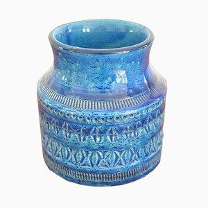 Vase Rimini Blue en Céramique par Aldo Londi pour Bitossi, 1960s