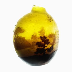 French Paysage Cameo Vase by Emile Gallé, 1903
