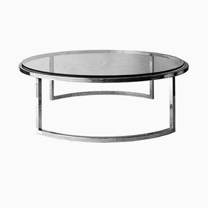 Mesa de centro italiana Mid-Century circular de cromo, vidrio y acero, años 60