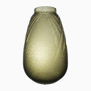 Französische Art Deco Vase aus Rauchglas von Charles Schneider, 1930er