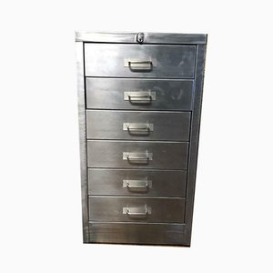 Vintage Industrial Stripped Metal 6-Drawer Filing Cabinet