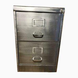 Schedario vintage in metallo sverniciato con due cassetti