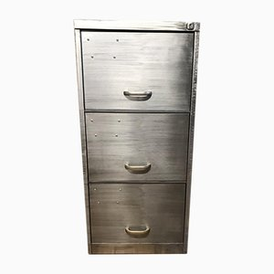 Vintage Industrial Stripped Metal 3-Drawer Filing Cabinet