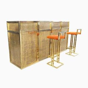 Modulare Bar aus Messing mit Barhockern von Maison Jansen, 1970er