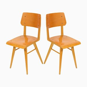 Vintage School Wooden Chairs, 1970s, Set of 2