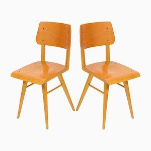 Vintage Schulstühle aus Holz, 1970er, 2er Set