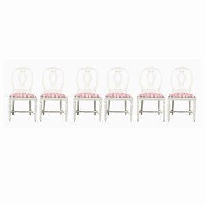 Gustavianische Schwanenhals-Stühle, 6er Set