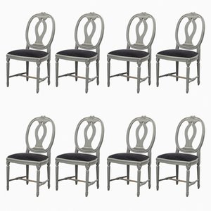 Gustavian Gooseneck Chairs, Set of 8