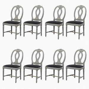 Gustavianische Schwanenhals-Stühle, 8er Set
