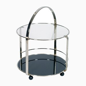 Italian Chrome Round Cocktail Bar Cart, 1970s