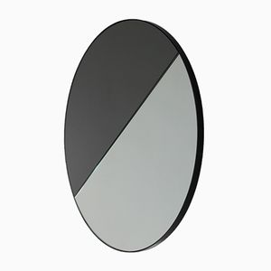 Mixed Tint Dualis Orbis Round Mirror with Black Frame by Alguacil & Perkoff Ltd