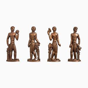 Schwedische Bronzereliefs von Stig Blomberg für ASEA, 1920er, 4er Set