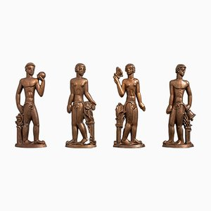 Swedish Bronze Reliefs by Stig Blomberg for ASEA, 1920s, Set of 4